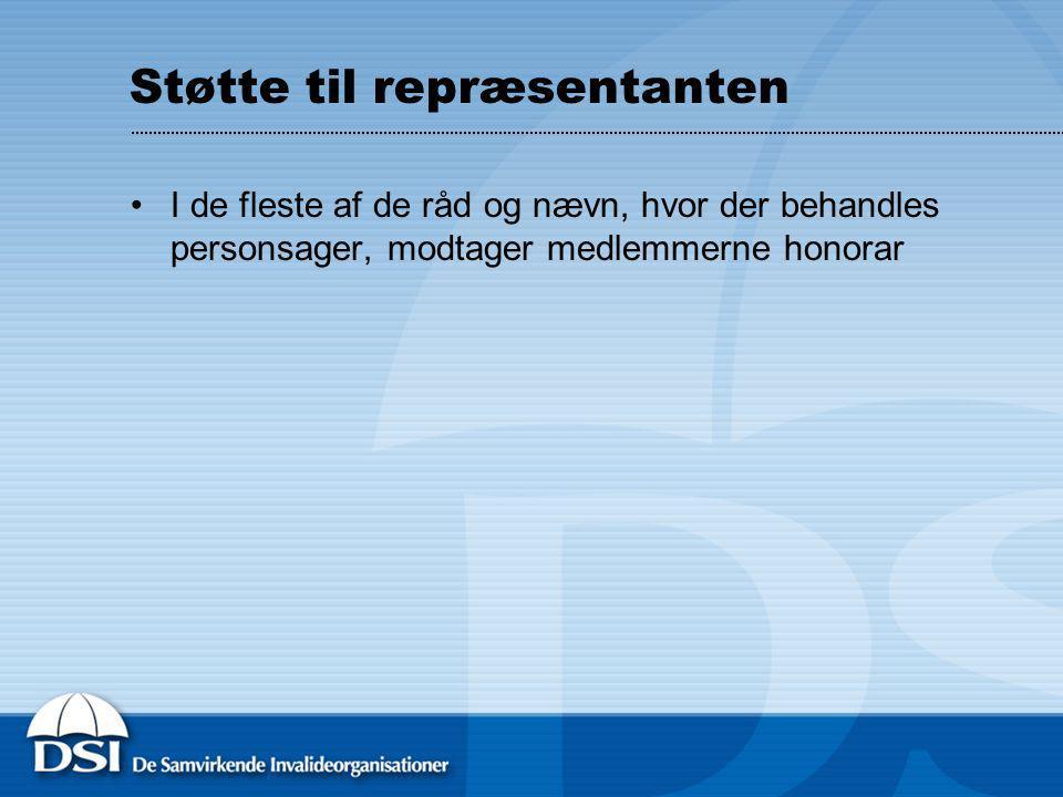 Støtte til repræsentanten I de fleste af de råd og nævn, hvor der behandles personsager, modtager medlemmerne honorar