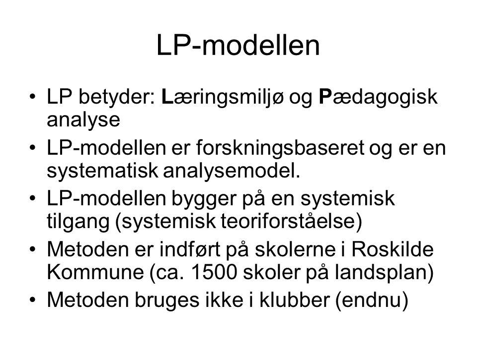 LP-modellen LP betyder: Læringsmiljø og Pædagogisk analyse LP-modellen er forskningsbaseret og er en systematisk analysemodel.