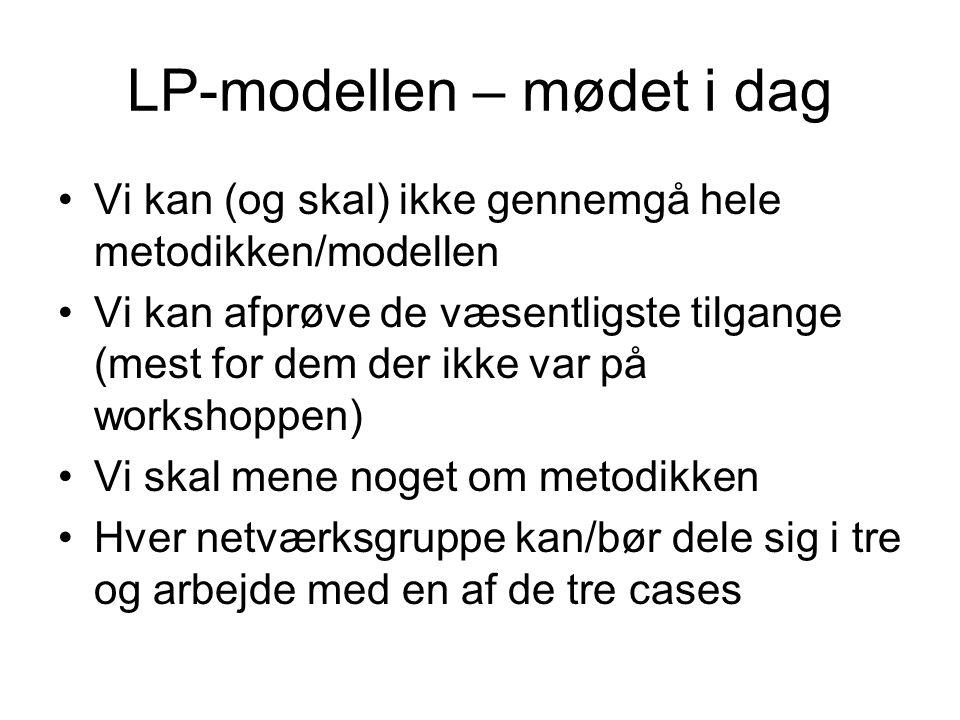 LP-modellen – mødet i dag Vi kan (og skal) ikke gennemgå hele metodikken/modellen Vi kan afprøve de væsentligste tilgange (mest for dem der ikke var på workshoppen) Vi skal mene noget om metodikken Hver netværksgruppe kan/bør dele sig i tre og arbejde med en af de tre cases