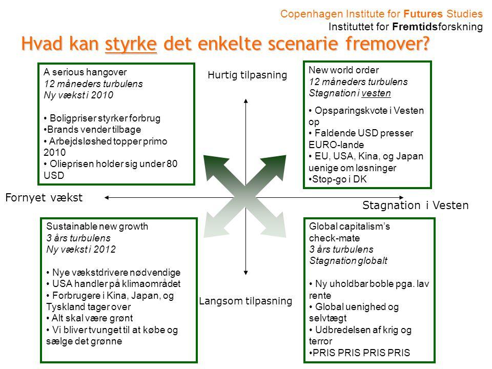Copenhagen Institute for Futures Studies Instituttet for Fremtidsforskning Hvad kan styrke det enkelte scenarie fremover.