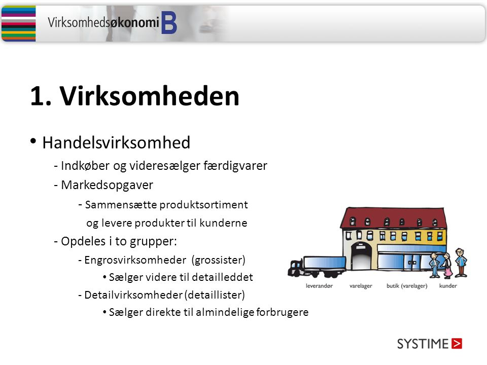 1. Virksomheden Handelsvirksomhed - Indkøber og videresælger færdigvarer - Markedsopgaver - Sammensætte produktsortiment og levere produkter til kunde
