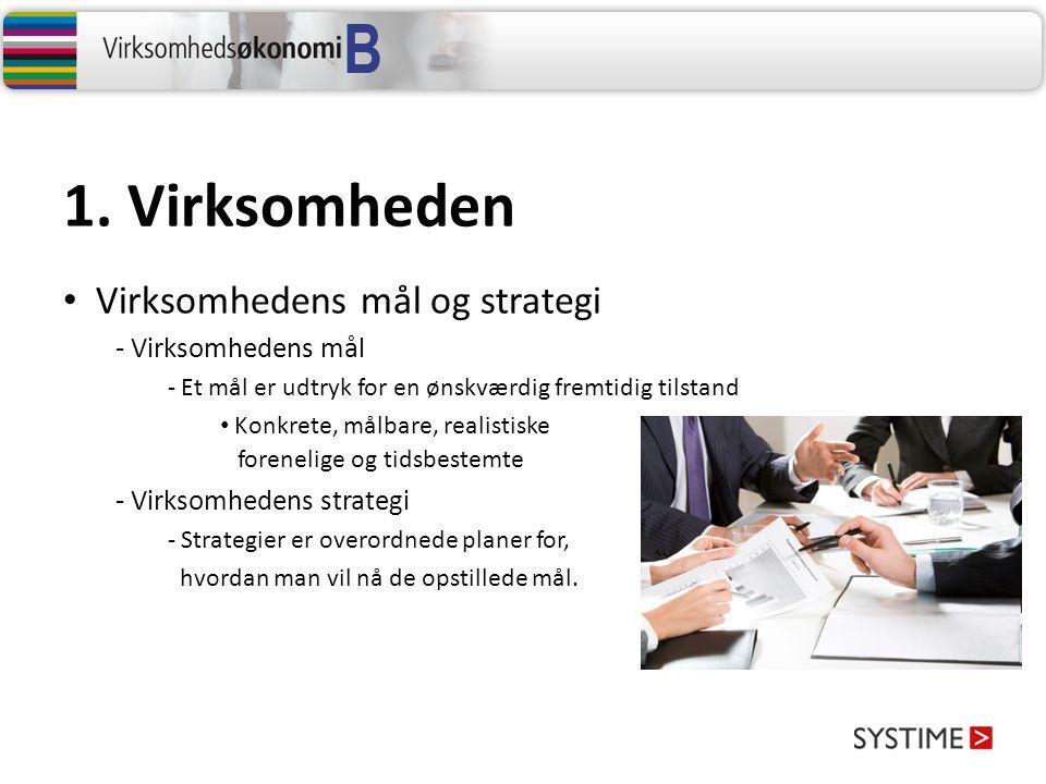 1. Virksomheden Virksomhedens mål og strategi - Virksomhedens mål - Et mål er udtryk for en ønskværdig fremtidig tilstand Konkrete, målbare, realistis
