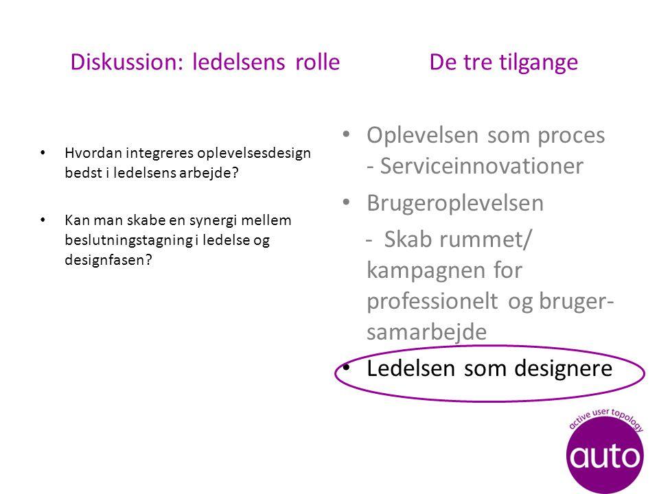 Diskussion: ledelsens rolle De tre tilgange Hvordan integreres oplevelsesdesign bedst i ledelsens arbejde.