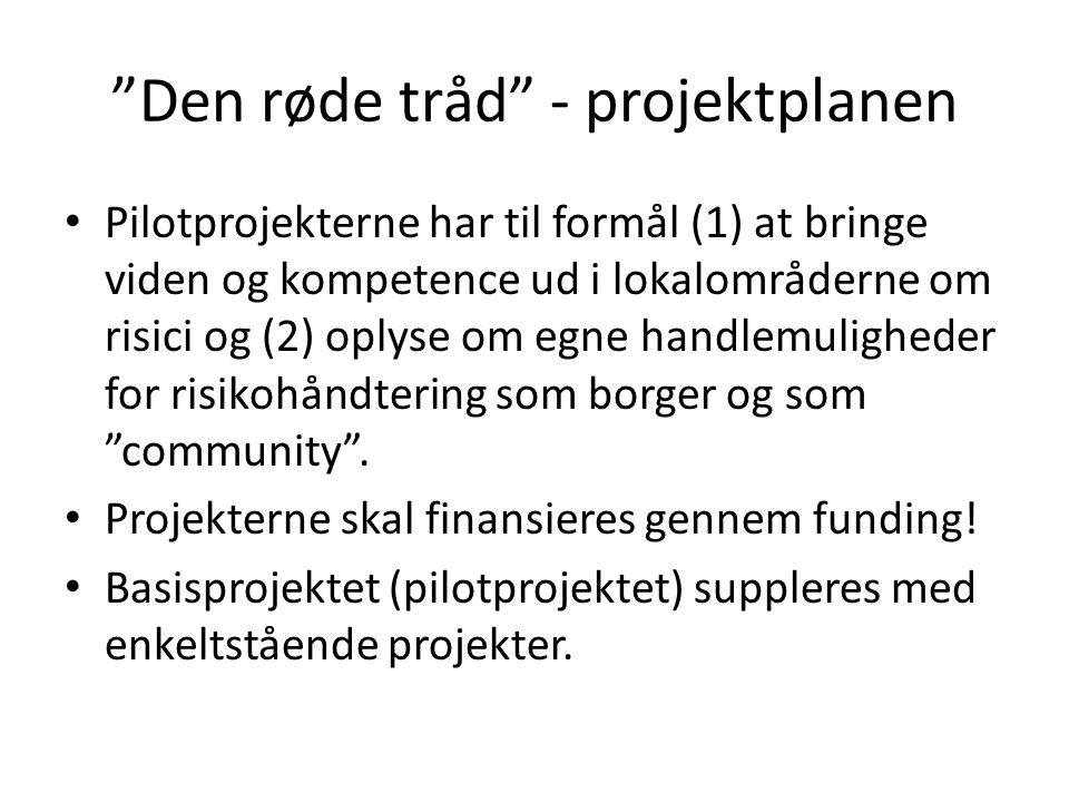 Den røde tråd - projektplanen Pilotprojekterne har til formål (1) at bringe viden og kompetence ud i lokalområderne om risici og (2) oplyse om egne handlemuligheder for risikohåndtering som borger og som community .