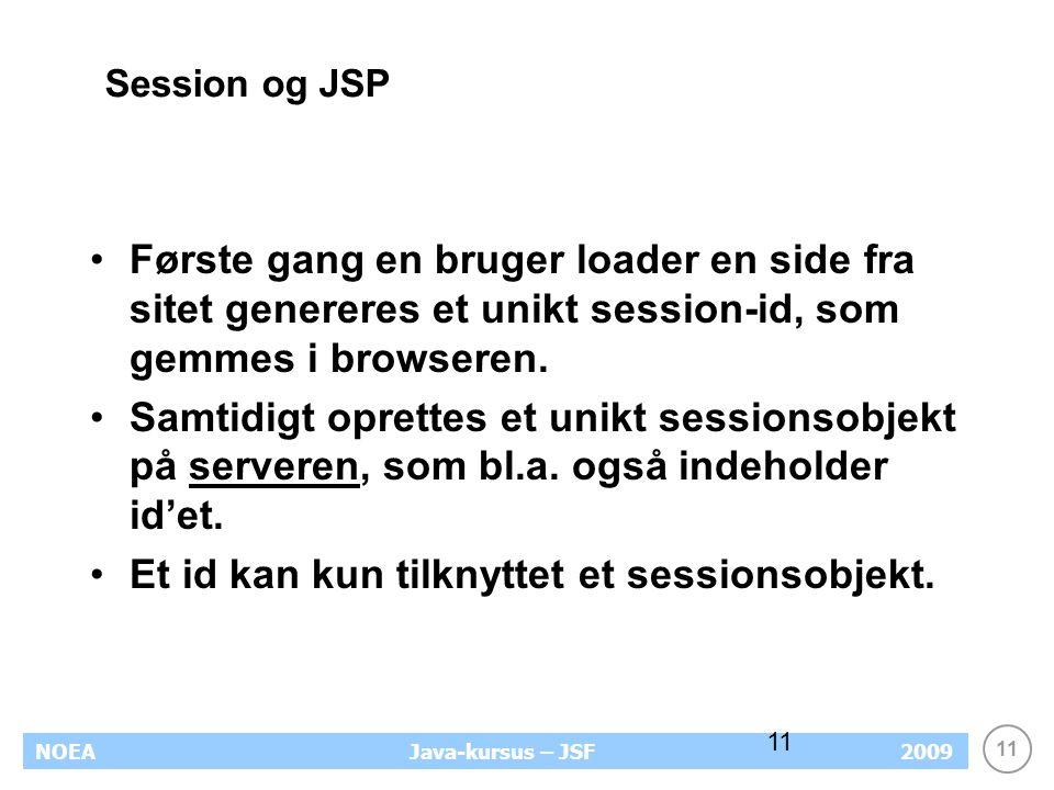11 NOEA2009Java-kursus – JSF 11 Session og JSP Første gang en bruger loader en side fra sitet genereres et unikt session-id, som gemmes i browseren.