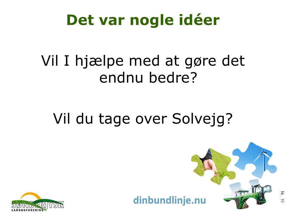 www.slf.dk dinbundlinje.nu Det var nogle idéer Vil I hjælpe med at gøre det endnu bedre.