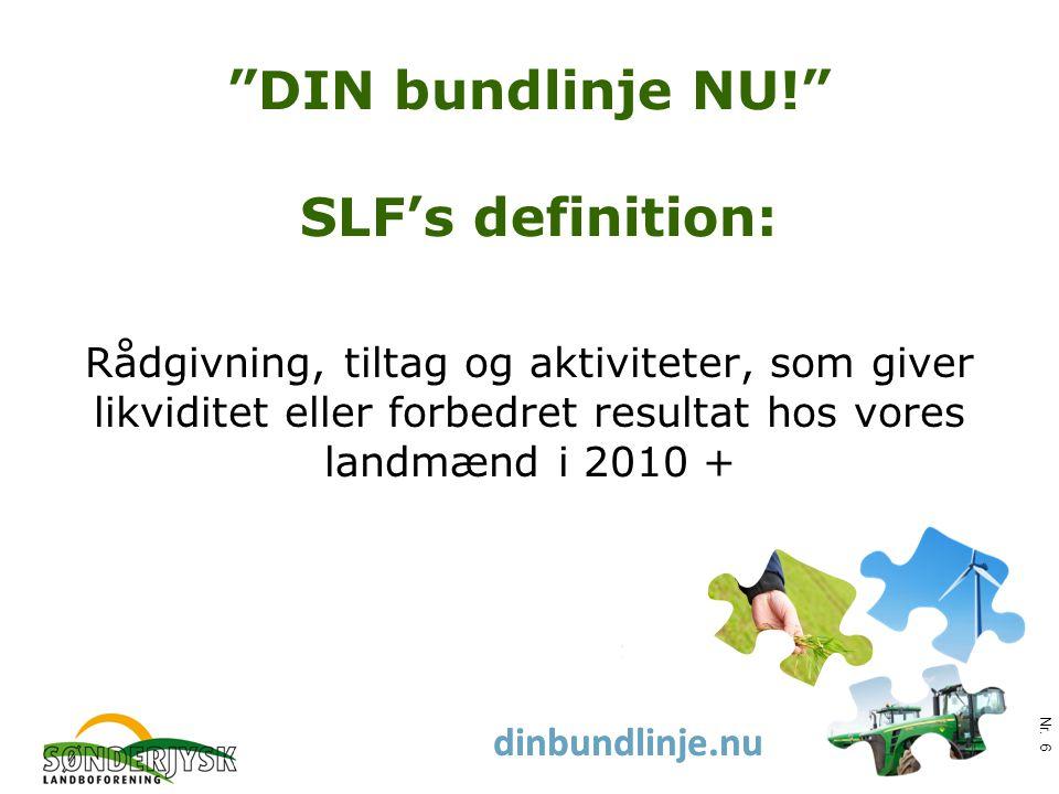 www.slf.dk dinbundlinje.nu DIN bundlinje NU! SLF's definition: Rådgivning, tiltag og aktiviteter, som giver likviditet eller forbedret resultat hos vores landmænd i 2010 + Nr.