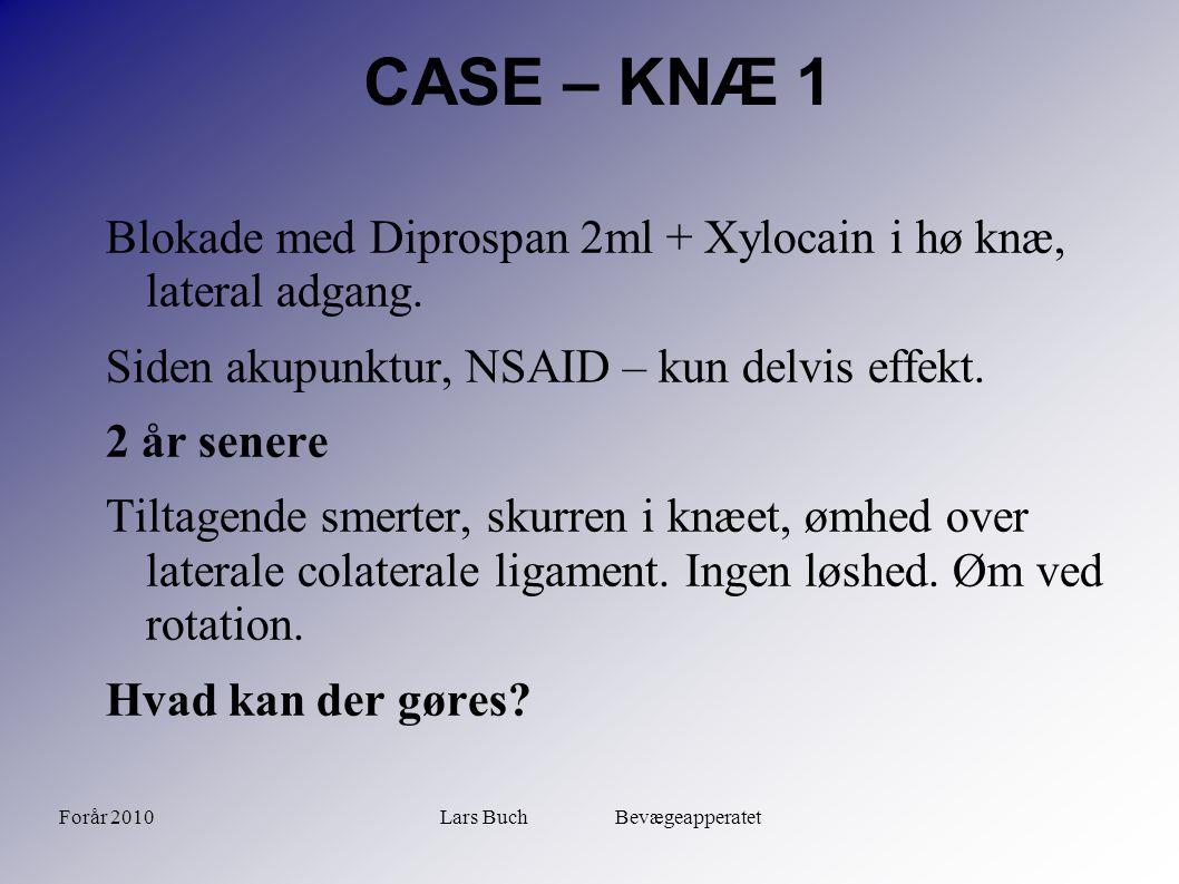 Forår 2010Lars Buch Bevægeapperatet CASE – KNÆ 1 Blokade med Diprospan 2ml + Xylocain i hø knæ, lateral adgang. Siden akupunktur, NSAID – kun delvis e