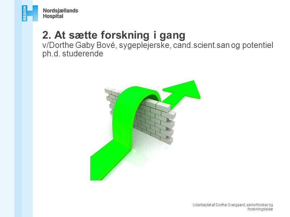 Udarbejdet af Dorthe Overgaard, seniorforsker og forskningsleder 2.