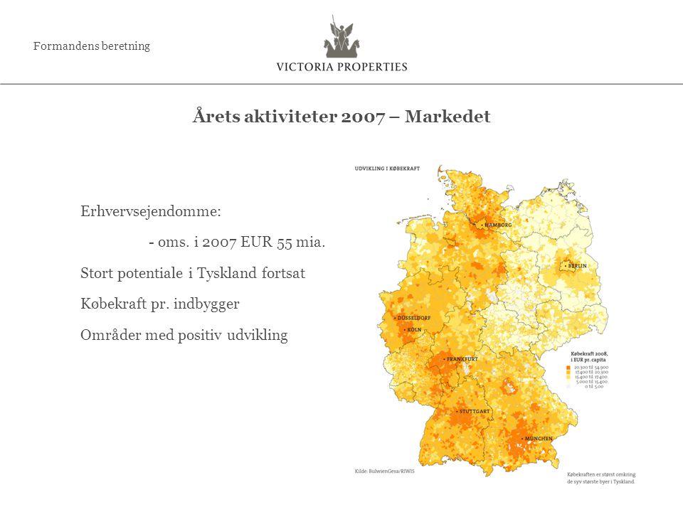 Erhvervsejendomme: - oms. i 2007 EUR 55 mia. Stort potentiale i Tyskland fortsat Købekraft pr.