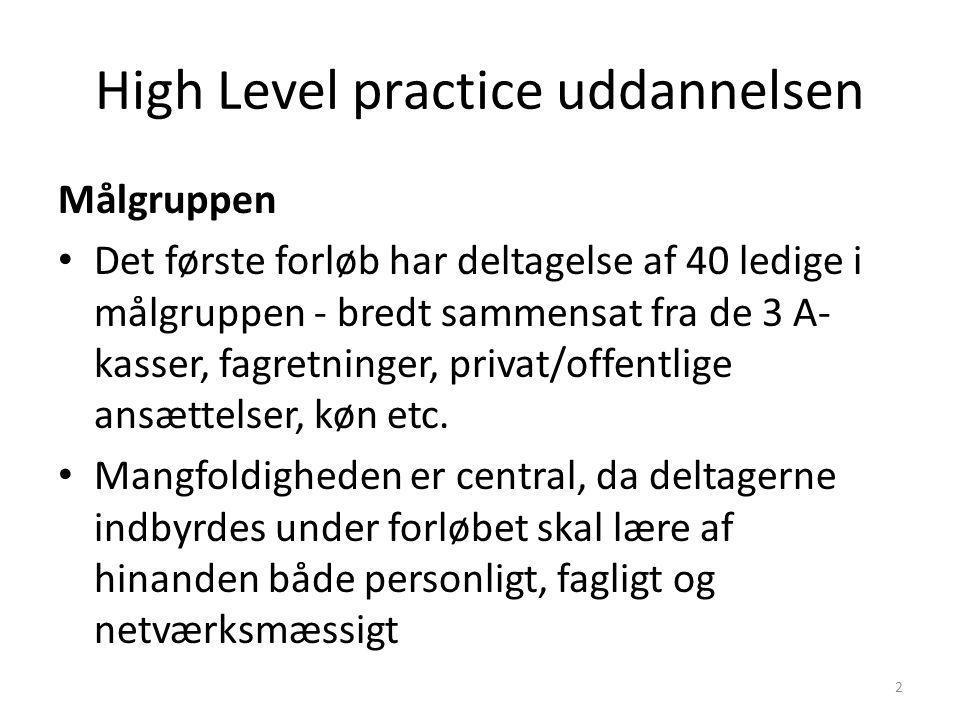 High Level practice uddannelsen Målgruppen Det første forløb har deltagelse af 40 ledige i målgruppen - bredt sammensat fra de 3 A- kasser, fagretninger, privat/offentlige ansættelser, køn etc.