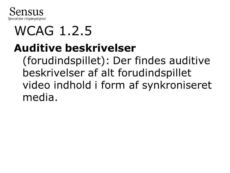 WCAG 1.2.5 Auditive beskrivelser (forudindspillet): Der findes auditive beskrivelser af alt forudindspillet video indhold i form af synkroniseret media.