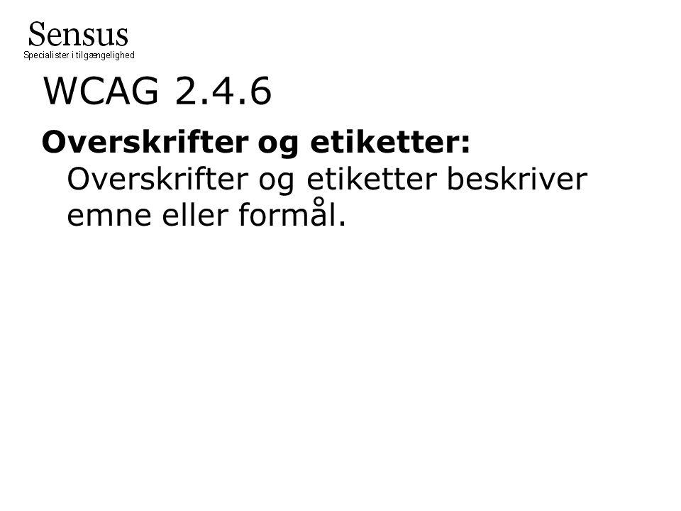 WCAG 2.4.6 Overskrifter og etiketter: Overskrifter og etiketter beskriver emne eller formål.