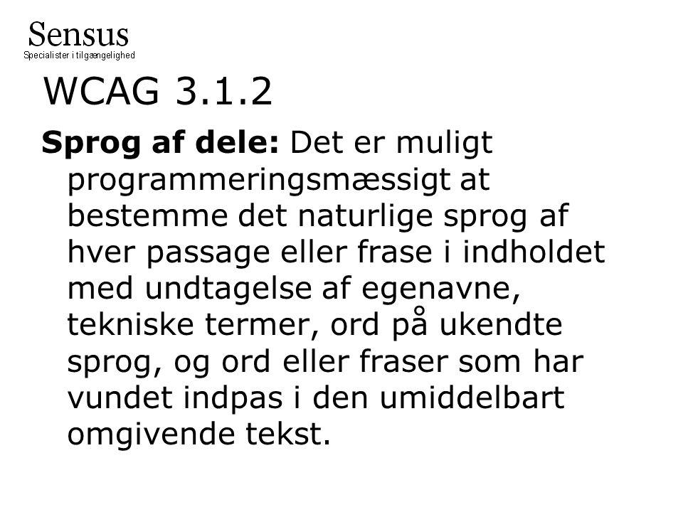 WCAG 3.1.2 Sprog af dele: Det er muligt programmeringsmæssigt at bestemme det naturlige sprog af hver passage eller frase i indholdet med undtagelse af egenavne, tekniske termer, ord på ukendte sprog, og ord eller fraser som har vundet indpas i den umiddelbart omgivende tekst.