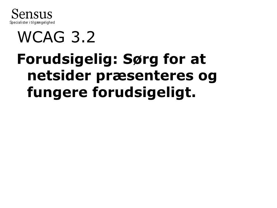 WCAG 3.2 Forudsigelig: Sørg for at netsider præsenteres og fungere forudsigeligt.