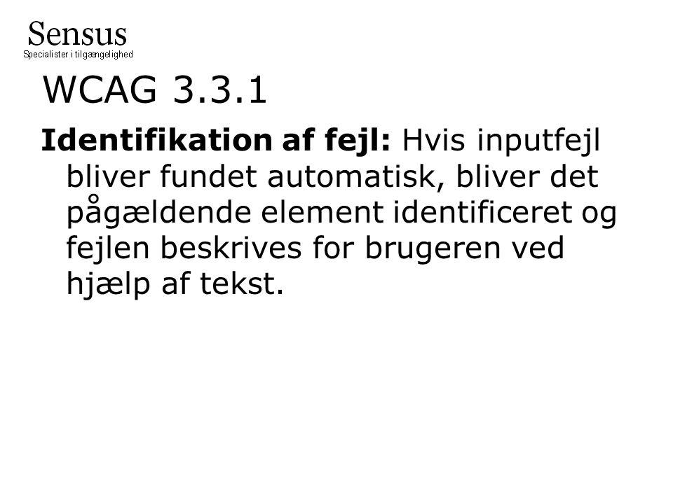 WCAG 3.3.1 Identifikation af fejl: Hvis inputfejl bliver fundet automatisk, bliver det pågældende element identificeret og fejlen beskrives for brugeren ved hjælp af tekst.