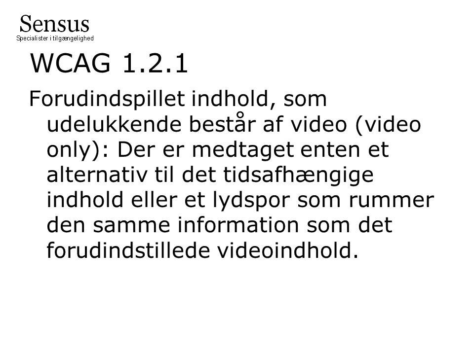 WCAG 1.2.1 Forudindspillet indhold, som udelukkende består af video (video only): Der er medtaget enten et alternativ til det tidsafhængige indhold eller et lydspor som rummer den samme information som det forudindstillede videoindhold.