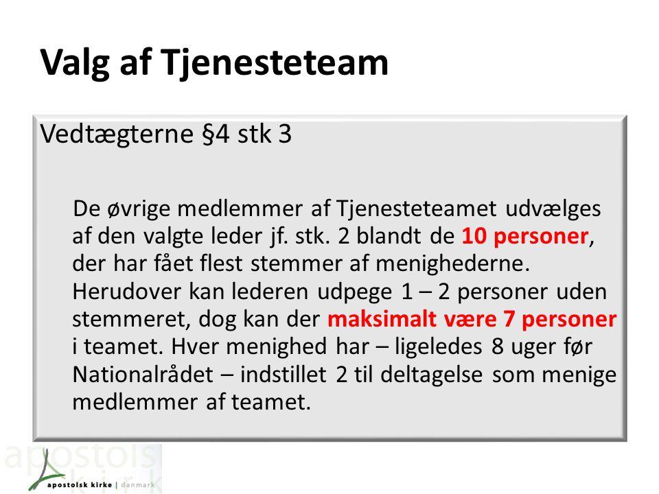 Valg af Tjenesteteam Vedtægterne §4 stk 3 De øvrige medlemmer af Tjenesteteamet udvælges af den valgte leder jf.