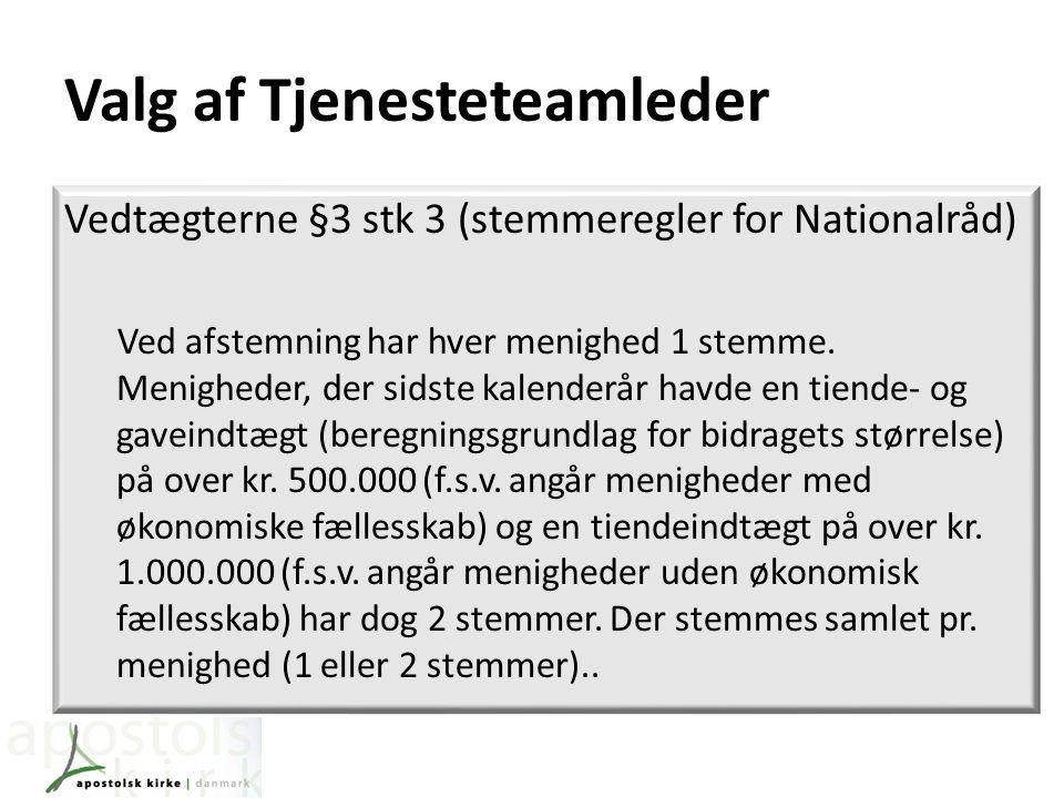 Valg af Tjenesteteamleder Vedtægterne §3 stk 3 (stemmeregler for Nationalråd) Ved afstemning har hver menighed 1 stemme.