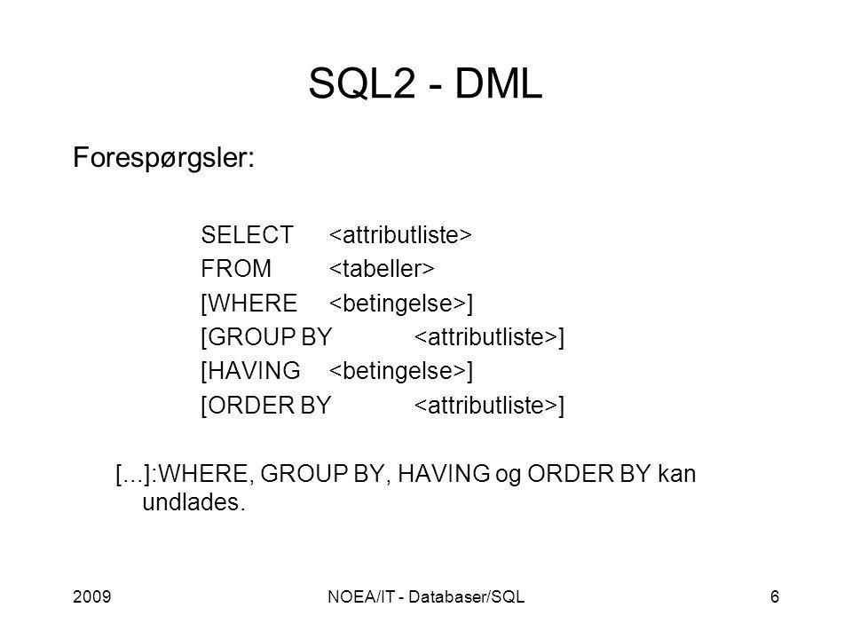 2009NOEA/IT - Databaser/SQL6 SQL2 - DML Forespørgsler: SELECT FROM [WHERE ] [GROUP BY ] [HAVING ] [ORDER BY ] [...]:WHERE, GROUP BY, HAVING og ORDER BY kan undlades.