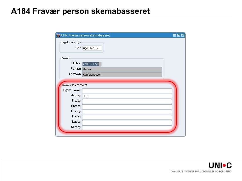 A184 Fravær person skemabasseret
