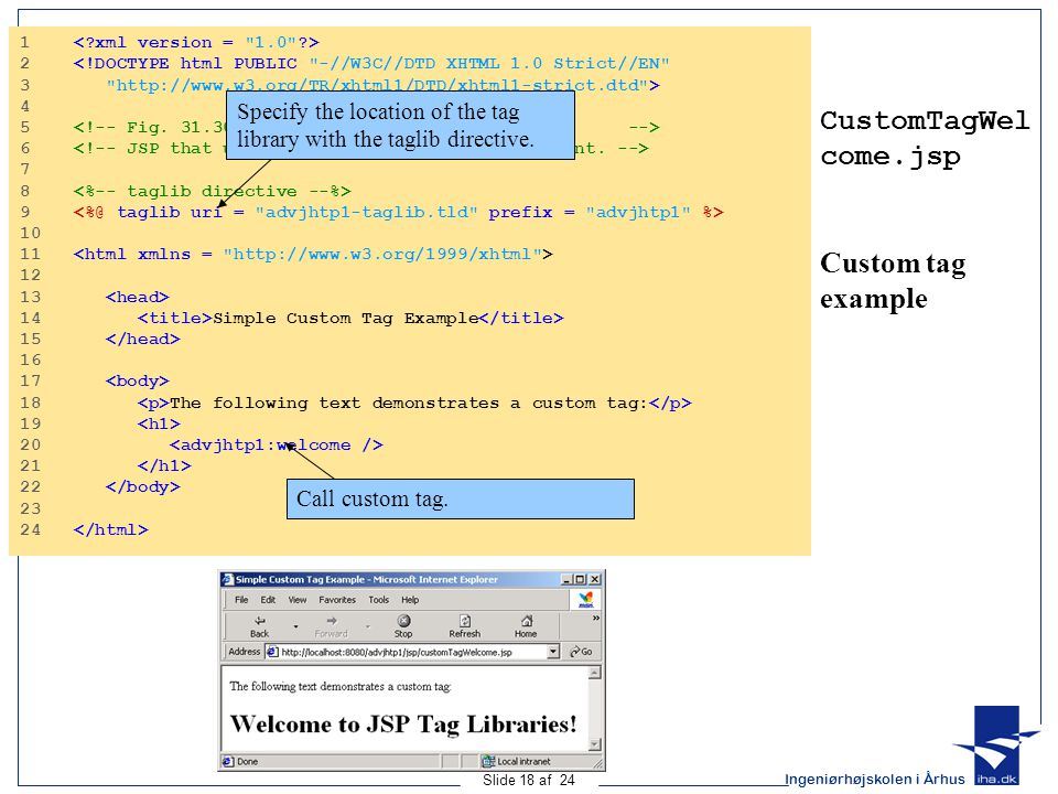 Ingeniørhøjskolen i Århus Slide 18 af 24 CustomTagWel come.jsp Custom tag example Program Output 1 2 <!DOCTYPE html PUBLIC -//W3C//DTD XHTML 1.0 Strict//EN 3 http://www.w3.org/TR/xhtml1/DTD/xhtml1-strict.dtd > 4 5 6 7 8 9 10 11 12 13 14 Simple Custom Tag Example 15 16 17 18 The following text demonstrates a custom tag: 19 20 21 22 23 24 Specify the location of the tag library with the taglib directive.