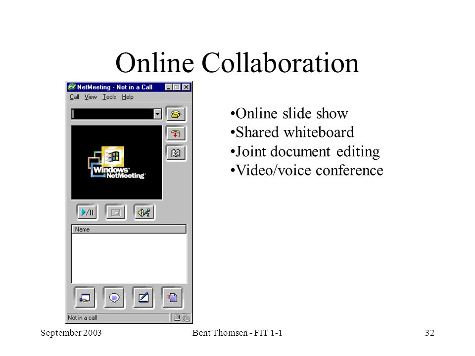 September 2003Bent Thomsen - FIT 1-132 Online Collaboration Online slide show Shared whiteboard Joint document editing Video/voice conference