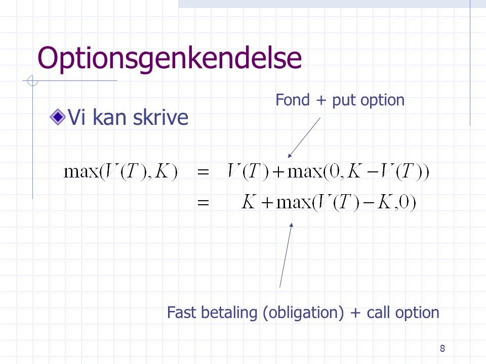 8 Optionsgenkendelse Vi kan skrive Fond + put option Fast betaling (obligation) + call option