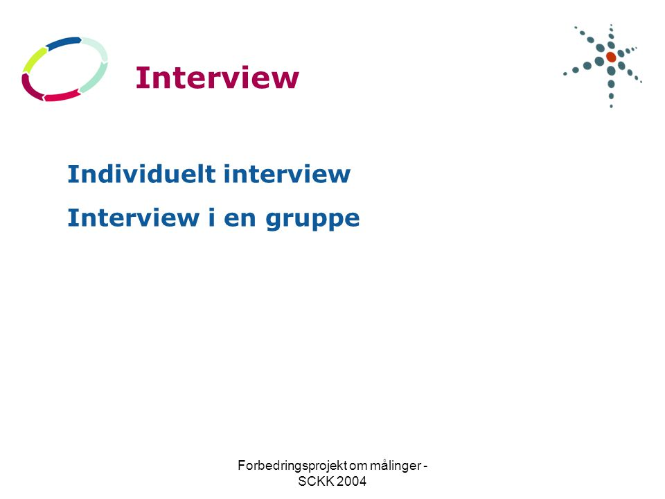 Forbedringsprojekt om målinger - SCKK 2004 Interview Individuelt interview Interview i en gruppe