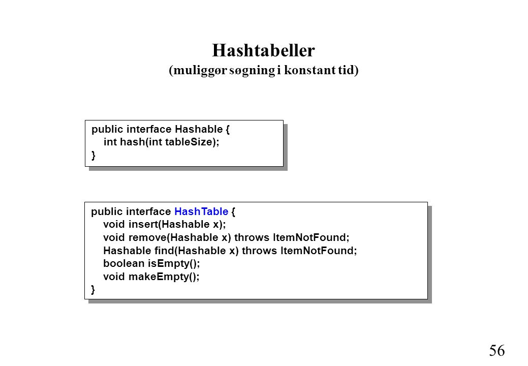 56 Hashtabeller (muliggør søgning i konstant tid) public interface HashTable { void insert(Hashable x); void remove(Hashable x) throws ItemNotFound; Hashable find(Hashable x) throws ItemNotFound; boolean isEmpty(); void makeEmpty(); } public interface Hashable { int hash(int tableSize); }