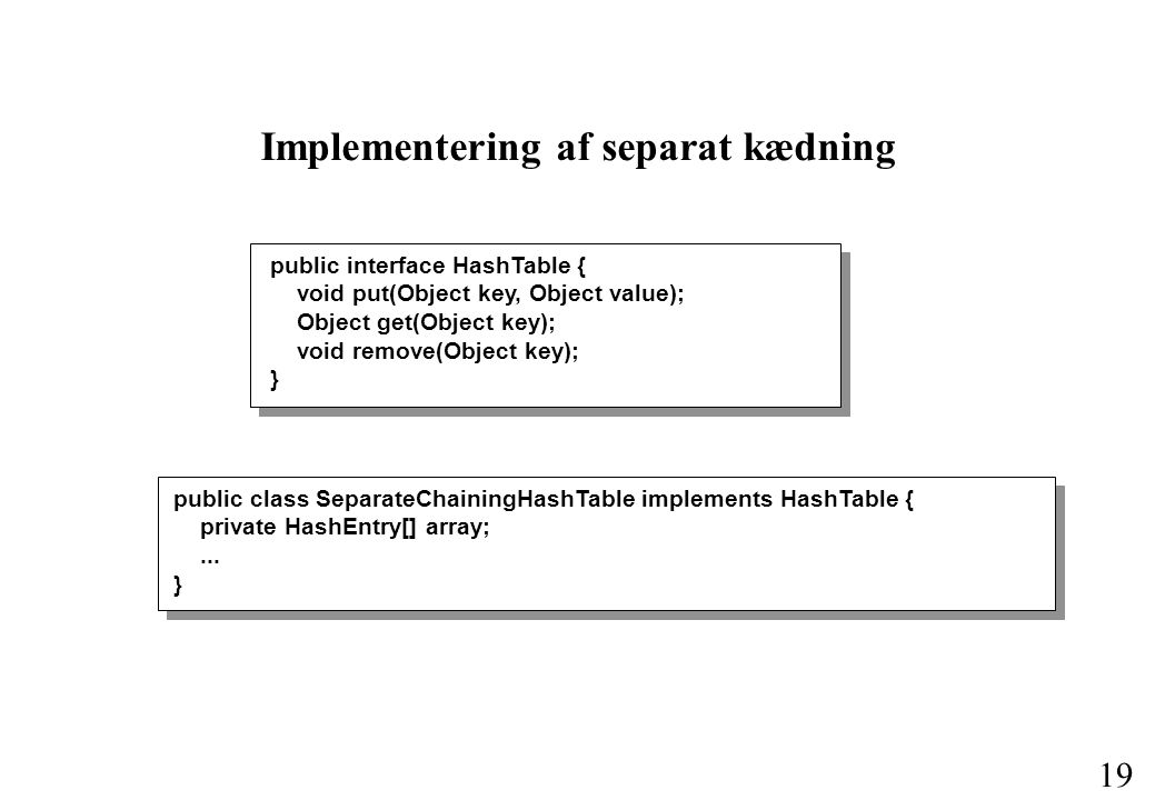 19 Implementering af separat kædning public interface HashTable { void put(Object key, Object value); Object get(Object key); void remove(Object key); } public class SeparateChainingHashTable implements HashTable { private HashEntry[] array;...