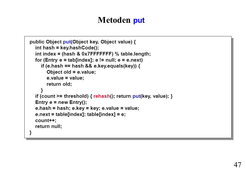 47 Metoden put public Object put(Object key, Object value) { int hash = key.hashCode(); int index = (hash & 0x7FFFFFFF) % table.length; for (Entry e = tab[index]; e != null; e = e.next) if (e.hash == hash && e.key.equals(key)) { Object old = e.value; e.value = value; return old; } if (count >= threshold) { rehash(); return put(key, value); } Entry e = new Entry(); e.hash = hash; e.key = key; e.value = value; e.next = table[index]; table[index] = e; count++; return null; }