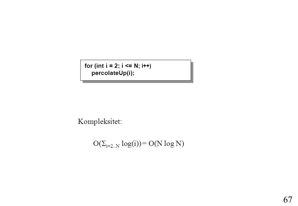 67 Kompleksitet: O(  i=2..N  log(i)) = O(N log N) for (int i = 2; i <= N ; i++) percolateUp(i);