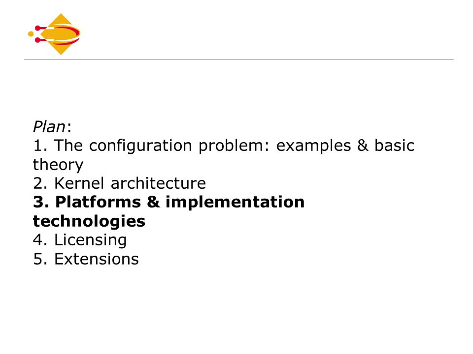 Plan: 1. The configuration problem: examples & basic theory 2.