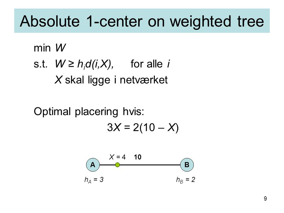 9 Absolute 1-center on weighted tree min W s.t.