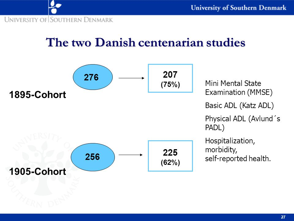 27 The two Danish centenarian studies 1895-Cohort 1905-Cohort 207 276 90 166 207 (75%) 225 (62%) 256 Mini Mental State Examination (MMSE) Basic ADL (Katz ADL) Physical ADL (Avlund´s PADL) Hospitalization, morbidity, self-reported health.