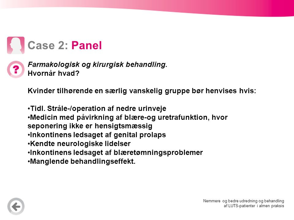 inkontinens kvinder operation