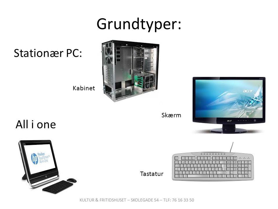 stationær pc med skærm og tastatur