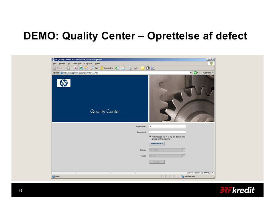 19 DEMO: Quality Center – Oprettelse af defect