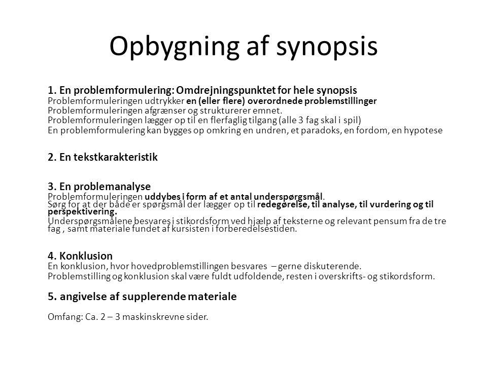 historie eksamen synopsis eksempel