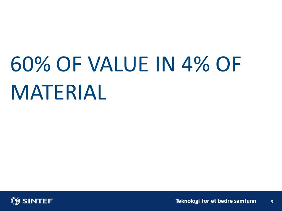 9 60% OF VALUE IN 4% OF MATERIAL