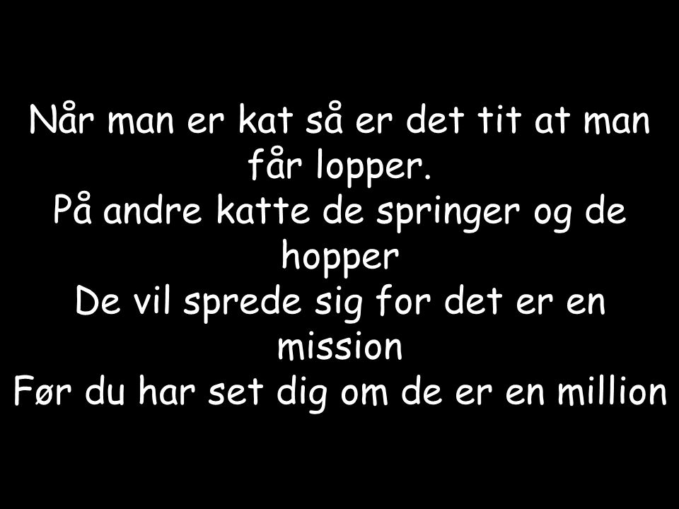 Når man er kat så er det tit at man får lopper.