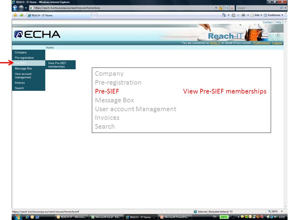 Company Pre-registration Pre-SIEFView Pre-SIEF memberships Message Box User account Management Invoices Search
