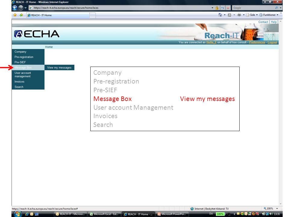 Company Pre-registration Pre-SIEF Message BoxView my messages User account Management Invoices Search
