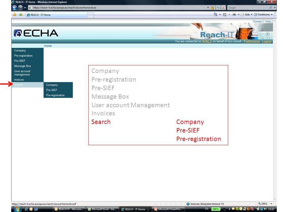 Company Pre-registration Pre-SIEF Message Box User account Management Invoices SearchCompany Pre-SIEF Pre-registration