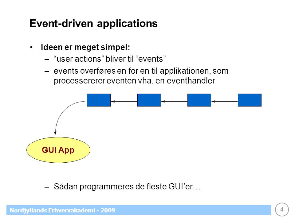 4 Nordjyllands Erhvervakademi - 2009 Event-driven applications •Ideen er meget simpel: – user actions bliver til events –events overføres en for en til applikationen, som processererer eventen vha.