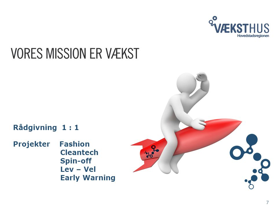 7 Rådgivning 1 : 1 Projekter Fashion Cleantech Spin-off Lev – Vel Early Warning