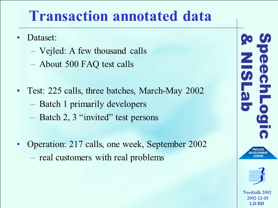 SpeechLogic & NISLab Nordtalk 2002 2002-12-05 LD/HD Transaction annotated data •Dataset: –Vejled: A few thousand calls –About 500 FAQ test calls •Test: 225 calls, three batches, March-May 2002 –Batch 1 primarily developers –Batch 2, 3 invited test persons •Operation: 217 calls, one week, September 2002 –real customers with real problems