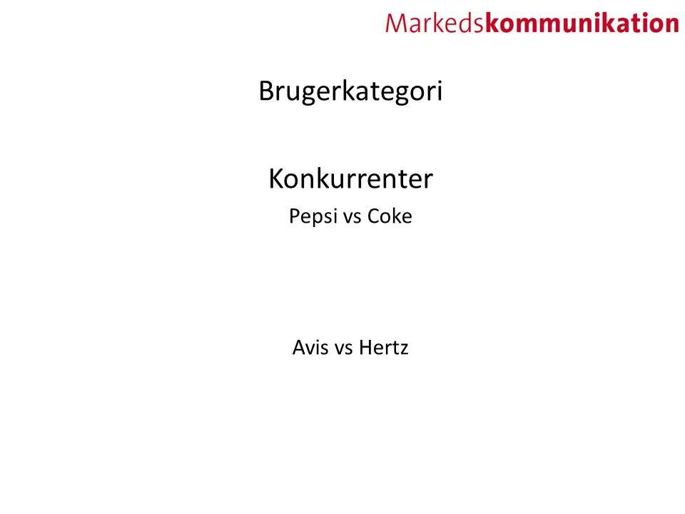 Brugerkategori Konkurrenter Pepsi vs Coke Avis vs Hertz