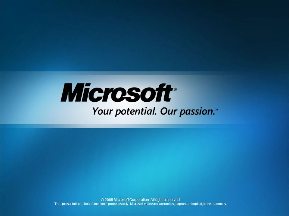 © 2005 Microsoft Corporation. All rights reserved.